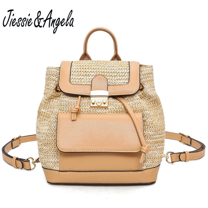 Jiessie & Angela Fashion Straw Backpack For Teenagers Girls School Bags Leather Backpacks Travel Bag bolsas mochila
