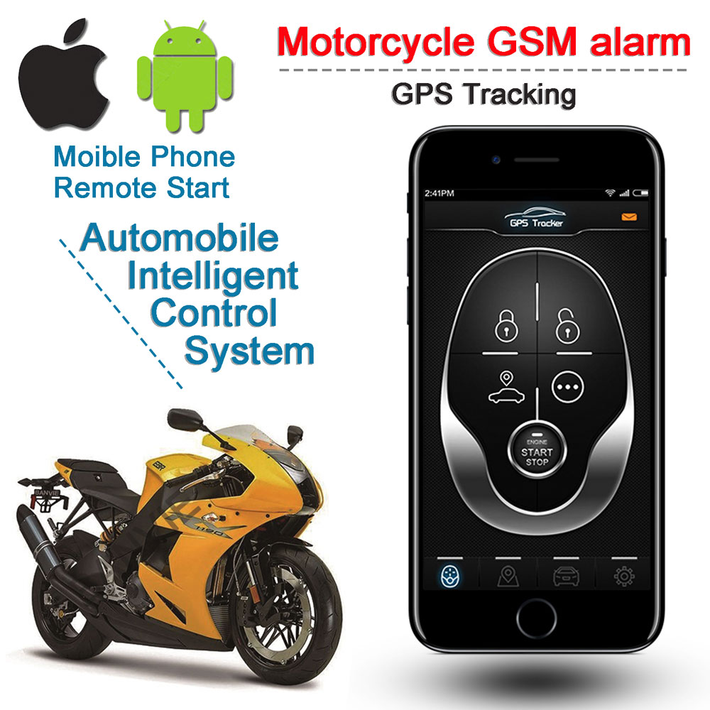 Motorcycle GSM GPS Tracker+Two Way Moto Remote Engine Start Motorbike Fence Overspeed Shock SOS Alarm with Android and IOS APP gk310 portable smart 4g gps tracker compatible with lte wcdma gsm network and touch screen with two way talking gps