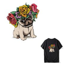 COSBILL Flower Dog Patches Diy A-level Washable Cute Dog Iron On Patches For Clothes T-shirt Heat Transfer Accessory Y-077 цена и фото