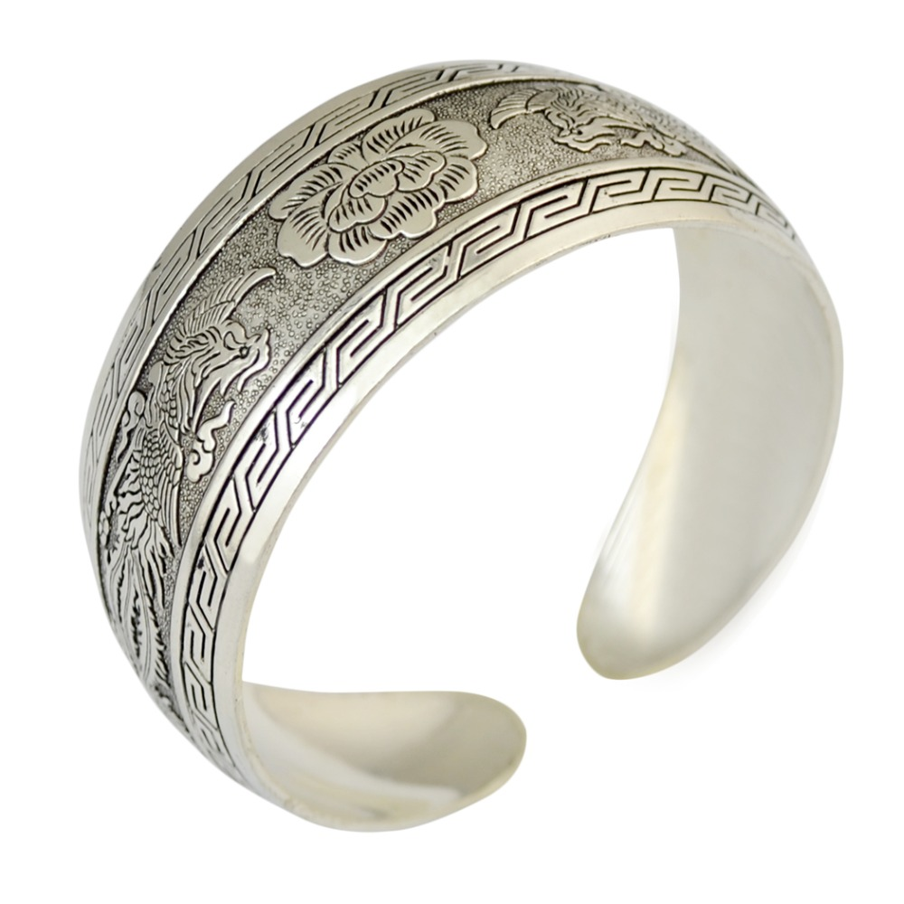 New Designs Retro Silver tone Cuff Bangles Openable Flower Pattern Resizable Metal Cuff Bangles Fashion Jewerly
