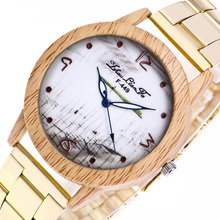 Fashion Digital Scale Imitation Wood Grain Alloy Dial 20mm Gold Stainless Steel Strap Men font b