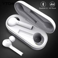 YTOM Freebud Bluetooth 5.0 Earphone Wireless Headphones Clear Bass mic Eaburds for iphone huawei xiaomi Android phone pc sport