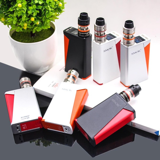 Original SMOK H-PRIV Starter KIT 220W TC VW H PRIV Mod Vaporizer Micro TFV4 Tank E cigarette Vape KIT With Screen 18650 Battery