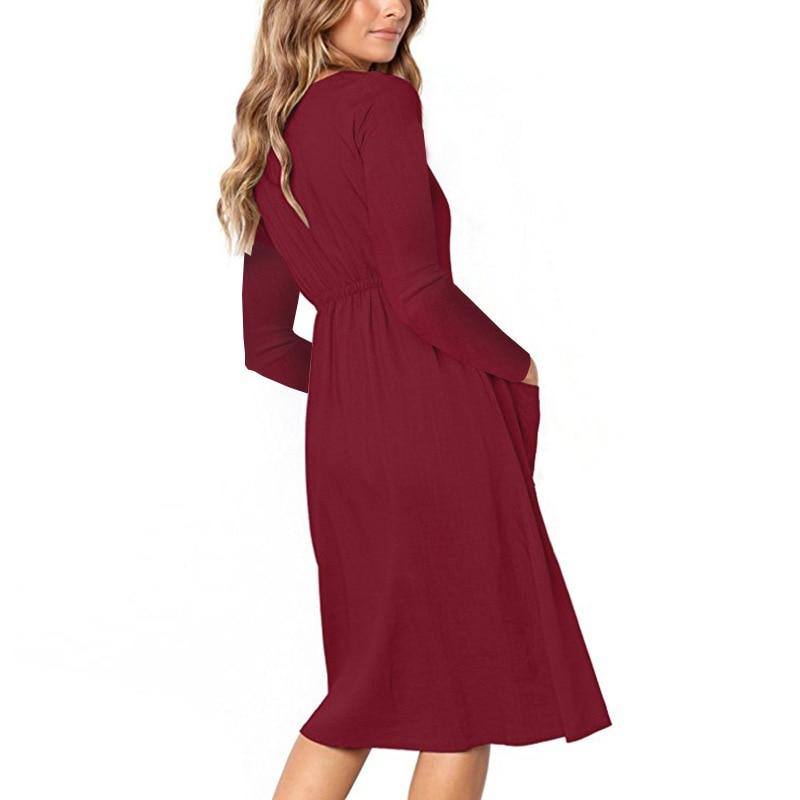 Red Blue A Line Casual Dresses Women Autumn Dress 19 Vintage Long Sleeve Dress For Ladies Buttons V Neck Midi Vestidos Female 25