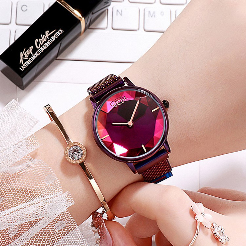 New Super Purple Women Watches Magnet Buckle Dress Watch Quartz Woman Clock Ladies 20119 bayan saat