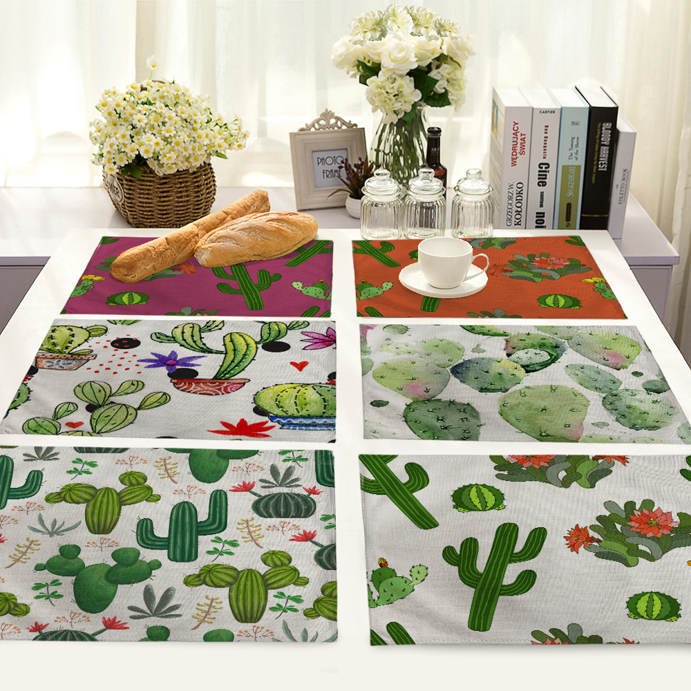 cactus Planet Pattern Table Dinner Burlap Napkin Placemats For Wedding Party Home Decor Table Napkins 42*32cm MP0047