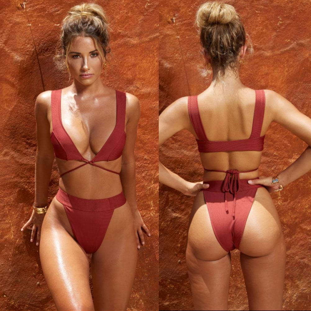 HTB1Jz5SboLrK1Rjy1zbq6AenFXaq 2019 New Style Fashion Hot Solid Women Push-up Bandage Padded Bra Bandage Bikini Set Swimsuit Triangle Swimwear Bathing