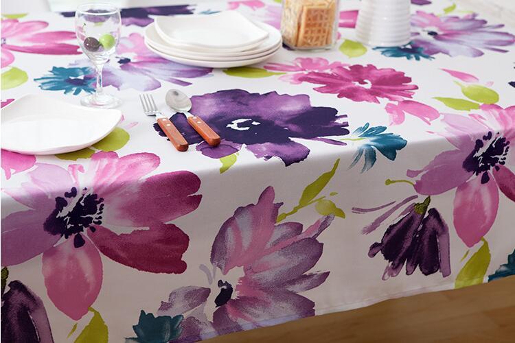 Fyjafon Nappe Rectangulaire Polyester Waterpoof Nappe Creative Imprimé Pastorale Coloré Fleurs Nappe Muti-taille