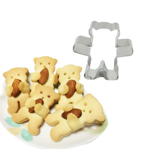3d Cookie Cutter Molde Anime Cartoon Mini Bear Stainless Steel Candy Biscuit Mold Cake Baking Tools Diy Fondant Cutters