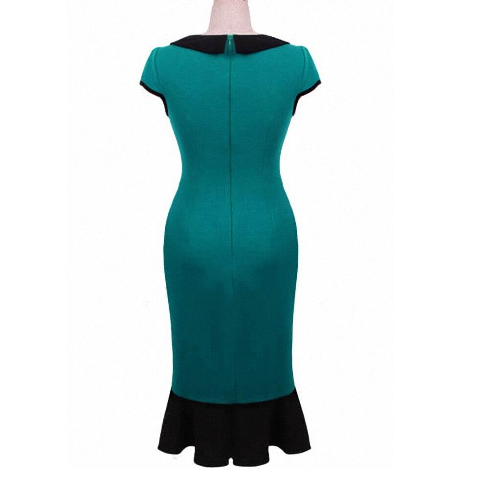 Retro Rockabilly Short Sleeves Green Woman Dress Mermaid Pencil ...