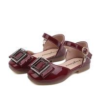 AFDSWG kids shoes summer patent leather black sandals low heel sandal princess pink for toddler girls
