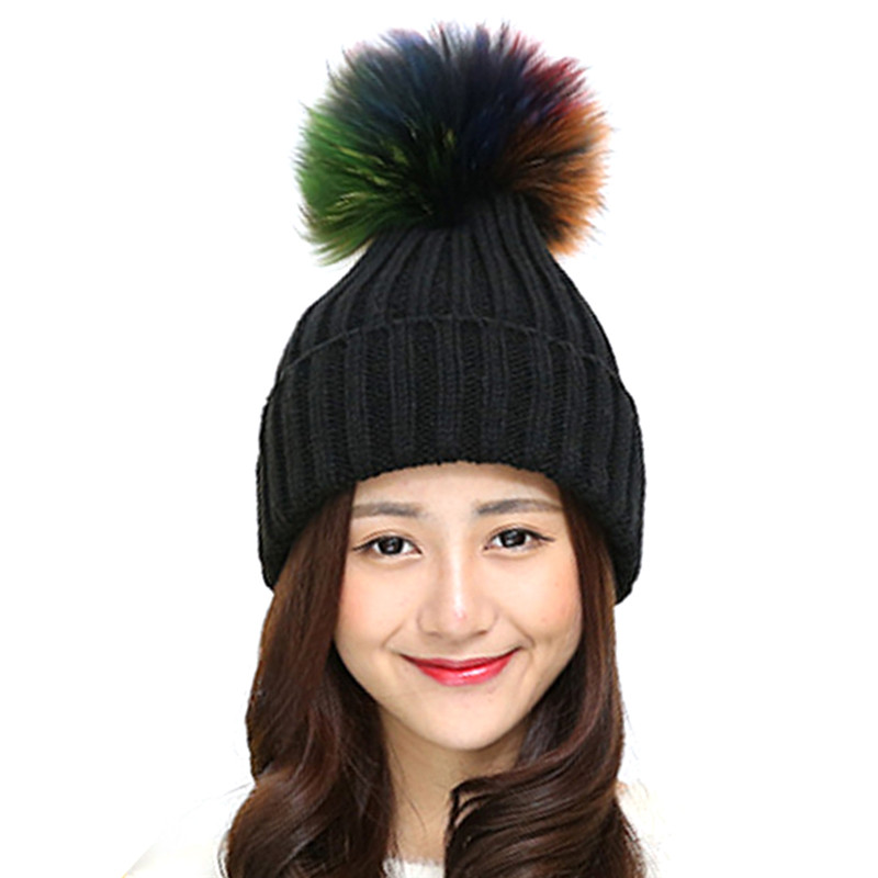 Real Raccon Fur Pompom Hats For Women 2017 Wool Knitted Warm Winter Caps Female Beanies Gorros Ladies Fur Pom Pom Hats Bonnet warm winter real fur hat for women wool knitted womens cat ears rabbit hats skullies fur pom pom caps female beanies bonnet