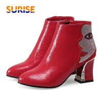 Big Size Women Ankle Ankle Boot 7cm High Block Heel Round Toe Flock PU Leather Rhinestone Crystal Face Zipper Lady Short Boots