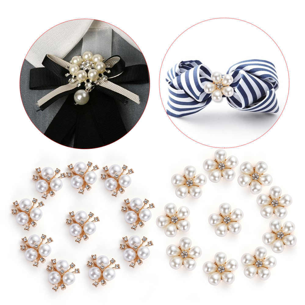10pcs/setDIY Flower Rhinestones Buttons Pearl button Alloy Diamante Cryustal Bow wedding decoration Sewing Decor Accessories