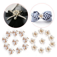 10pcs/Set DIY Flower Rhinestones Buttons Pearl button Alloy Diamante crystal Bow wedding decoration Sewing Decor Accessories(China)