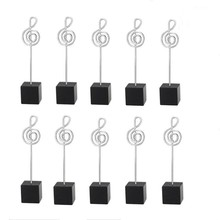 HOT-10pcs Music Shape Table Number Holder Name Place Card Holder Memo Clip Holder Standr Pictures Card Paper Menu Clip … (Blac(China)