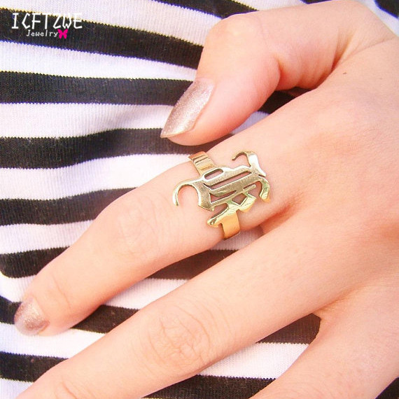 US $8 99 21% OFF|Gold Silver Stackable Custom Personalized Old English  Initial Name Ring For Women Best Friends Wedding Stainless Steel Men  Jewel-in