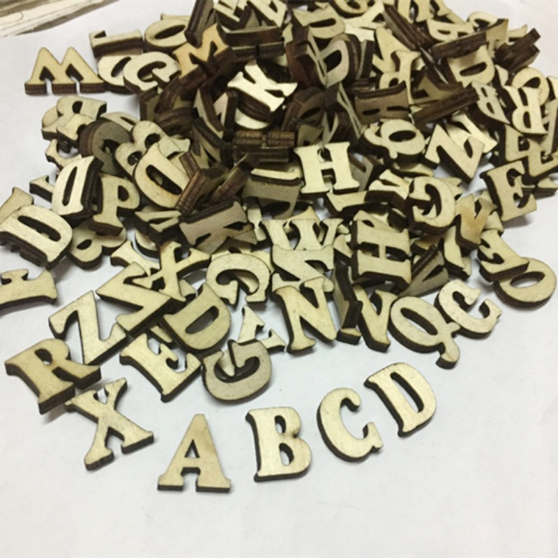 100pcs Rustic Style Wooden Letters Wedding Party Home Decoration Crafts
