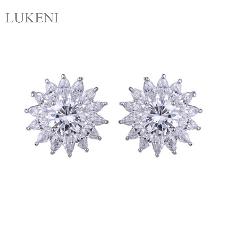 LUKENI New Fashion White Color Micro Inlay AAA Zircon,Sun Flowers Zircon Stud Earrings For Gril To Gift Accessories Jewelry