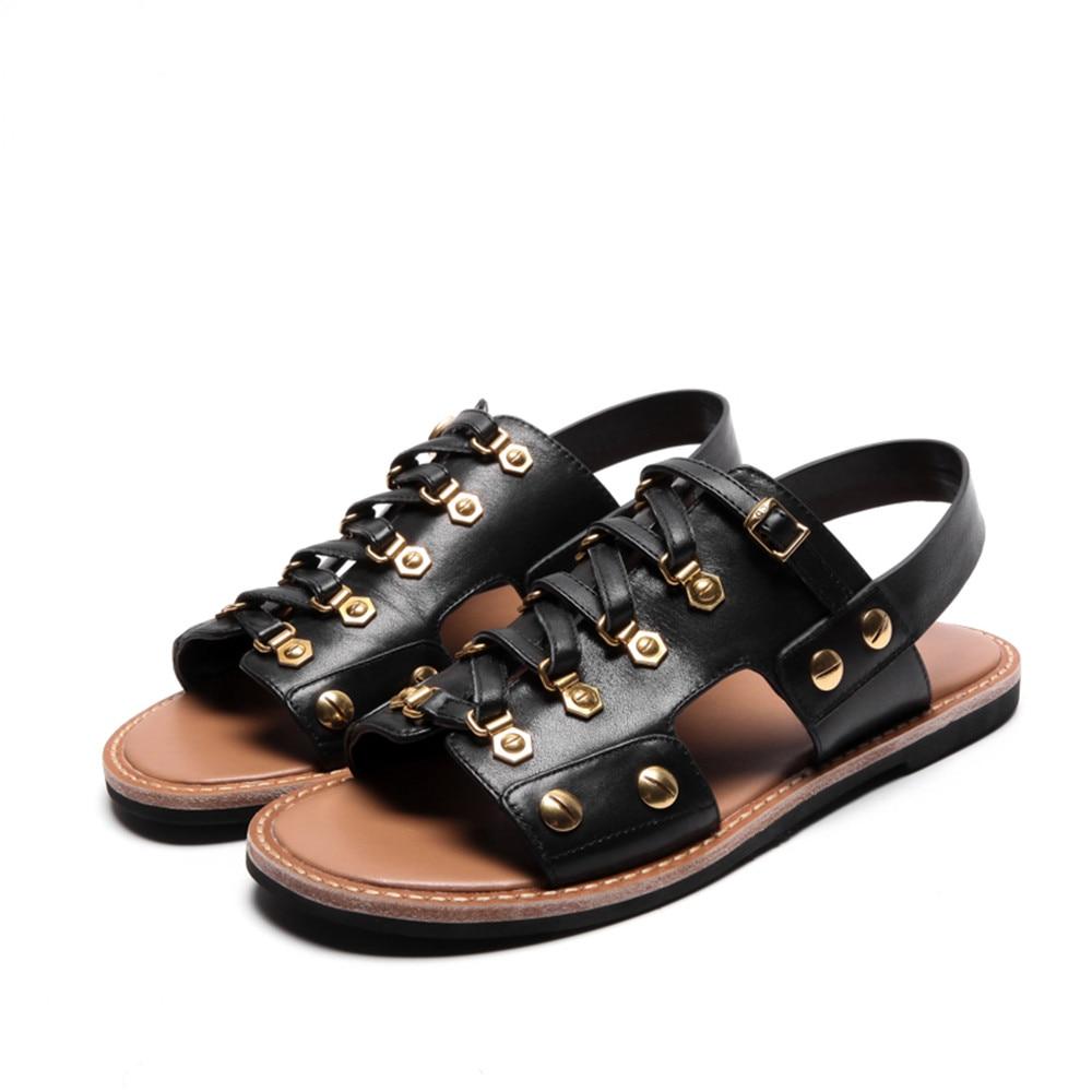 e8c9ada38f7 ASUMER black white fashion summer ladies shoes flat buckle casual women  genuine leather sandals comfortable - aliexpress.com - imall.com
