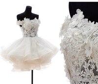 С открытыми плечами бальное платье Свадебные платья 2017 короткие пикантные невесты пышные платья тюль вечерние платье невесты из органзы мо