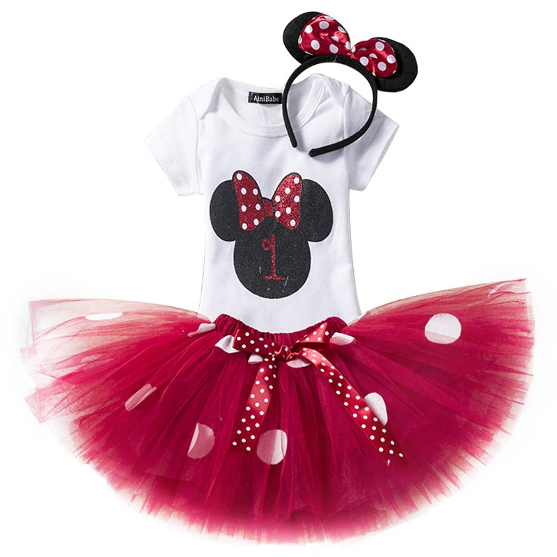 ea72bf4009927 US $12.47 19% OFF Fancy 1 2 Year Birthday Baby Girl Dress Summer Girls  Minnie Mouse Clothes Kids Dresses For Girl Party Tutu Outfits 3pcs  Clothing-in ...