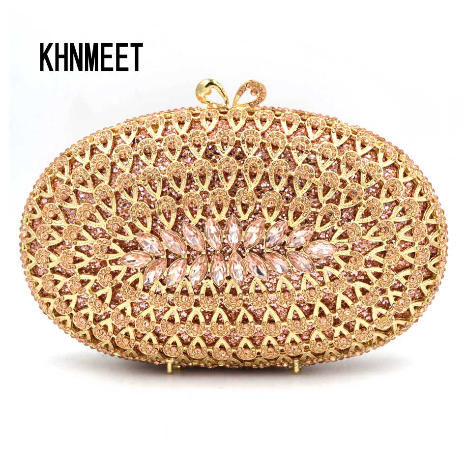 Fashion Oval Rose gold Luxury Crystal Handcraft Clutch Bag Silver champagne Ladies Evening Bag Female Wedding Party Purse SC588 7 color oval gold ab silver pink luxury crystal evening bag party clutch purse women wedding handcraft banquet bag customized