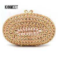 Fashion Oval Rose Gold Luxury Crystal Handcraft Clutch Bag Silver Champagne Ladies Evening Bag Female Wedding