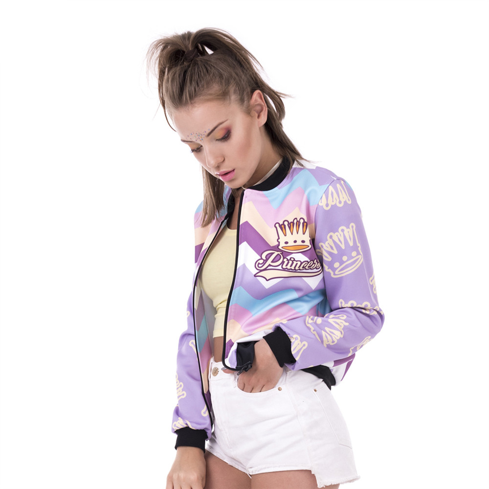 New Spring Women Bomber   Jacket   Princess Zyg Zag Printing Jaqueta Feminina Fashion Sexy Slim   Basic     Jacket   for Woman