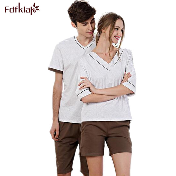 2405cc51ca Hot Sale Couple Pajamas Set Summer Men And Women Short Sleeve Pyjamas  Sleepwear Plus Size M-XXXL Nightwear Home Clothing Q274