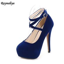 Fashion Women Super High Heels Platform Pumps Stilettos Round Toe Extreme 14cm Heels Party Shoes Blue Red Black Shoes MS-B0026 enmayla sexy thin high heels 14cm pumps round toe women shoes glitter platform pumps ankle strappy party shoes black red blue