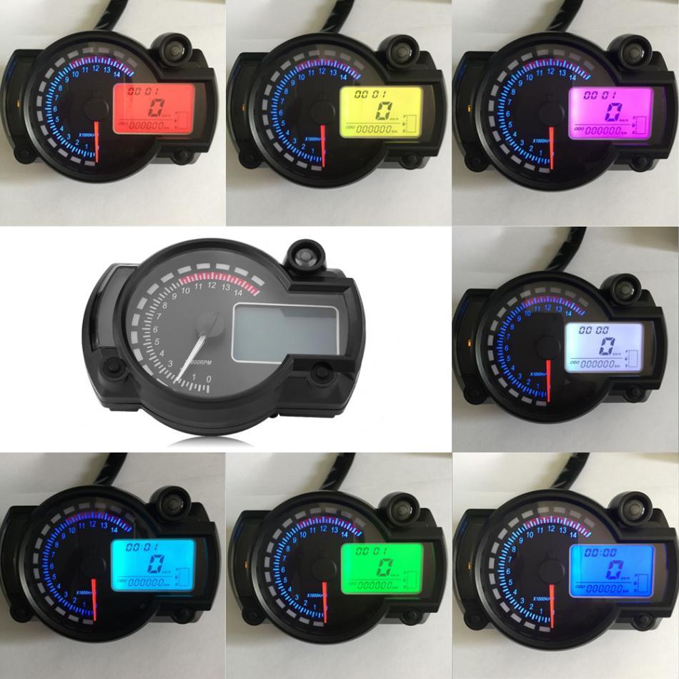 Motorcycle Digital Colorful LCD Speedometer Odometer Tachometer W Speed Sensor 7 color display oil level meter