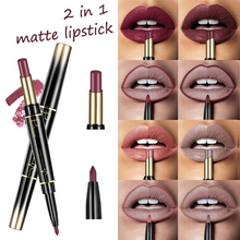 Купить с кэшбэком Pudaier Double Ended Matte Lipstick Wateproof Long Lasting Lipsticks Brand Lip Makeup Cosmetics Nude Red Black Lips Liner Pencil