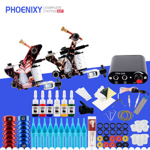 Complete Tattoo Set 2 Machine Guns Set 6 Colors Inks Pigment Supply Power Tattoo Accessories Permanent Makeup Tattoo Machine Set
