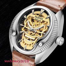 Classic Newest Hot 43mm parnis skeleton dial Luminous marks top brand Luxury Sapphire glass Steel automatic Movement mens watch все цены