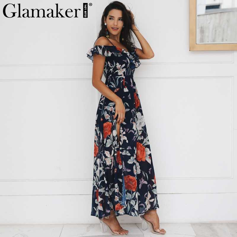 181f2b16071 ... Glamaker Boho flower print ruffle beach dress Women split v neck maxi  dress sundress Sexy club ...