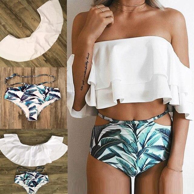 eea947a21f8938 Brazylijski Bikini 2019 kobiet stroje kąpielowe Bikini z odkrytymi  ramionami xxl kostium kąpielowy Bikini Push Up
