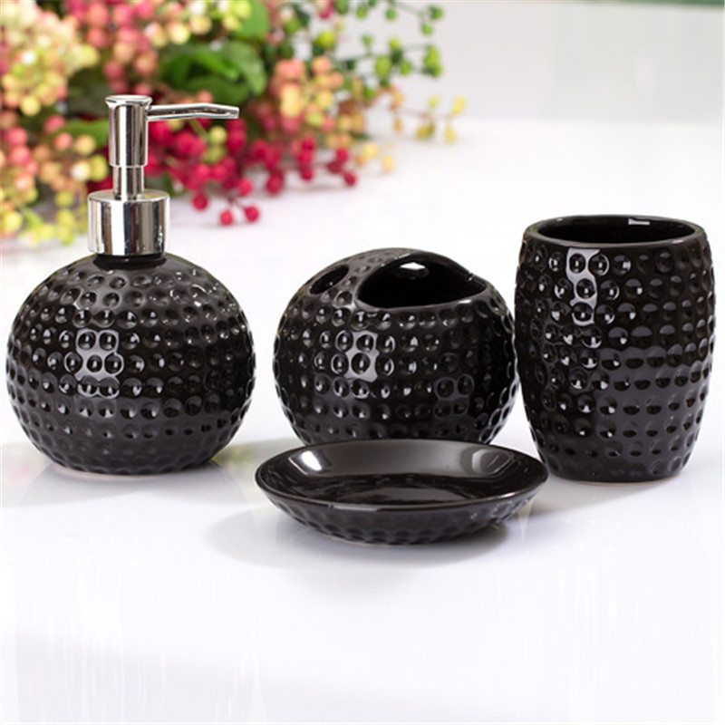 4pcs bathroom accessories set ceramic crafts bathrooms cleaning supplies soap dispenser European smiley style suit wedding gift