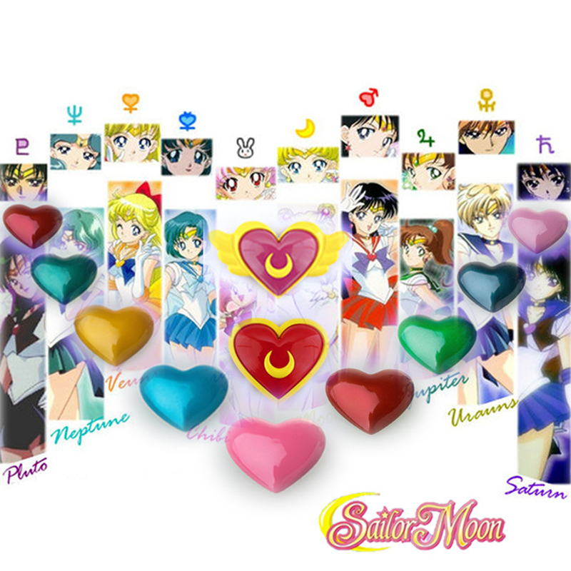 Athemis Lovely Sweet Heart Brooch Sailor Moon Cosplay Accessories Brooch Pins With Wing All Kind Of Colors