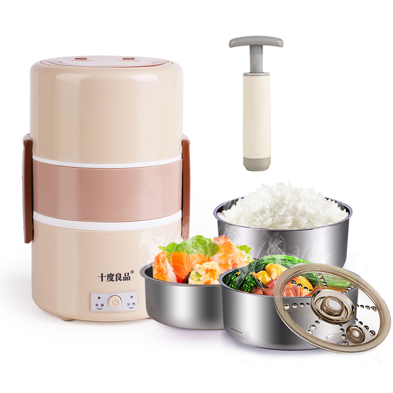 Electric Lunchbox Rice Cooker Three Layers Vacuum Preservation Plug In Insulation Heating Steamed Rice 1.8L 1-2 People lunchbox electric portable rice cooker can be plugged in electric heating automatic heat preservation cooker