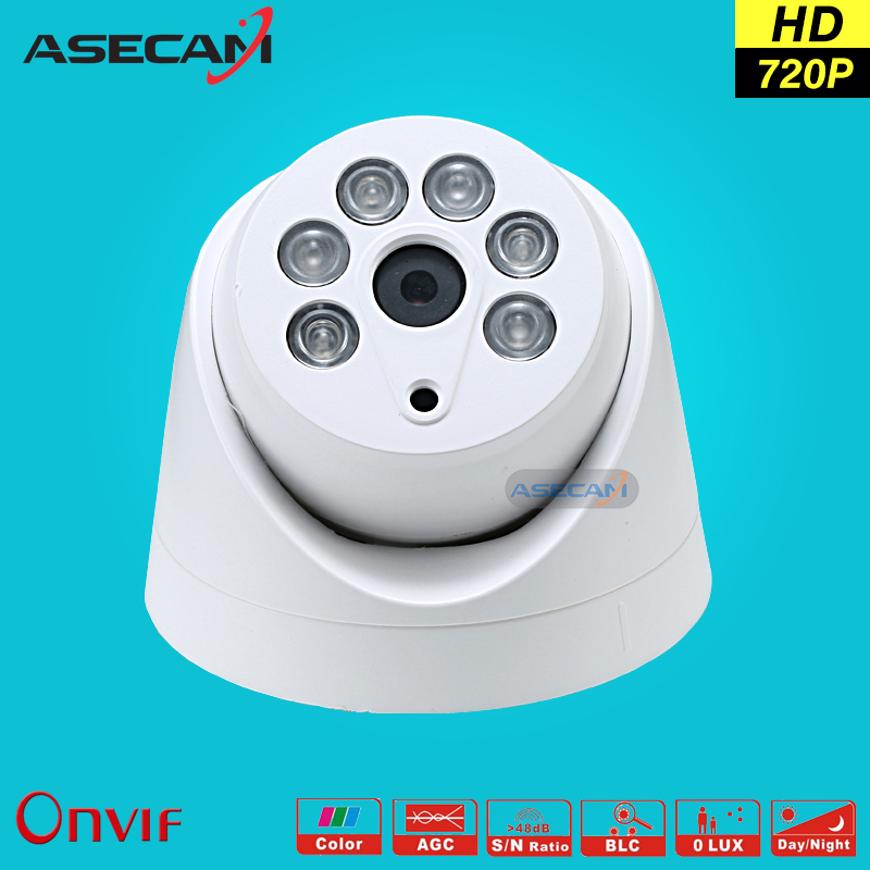 все цены на HD 720P IP Camera Onvif Black Indoor Dome WebCam CCTV Array Infrared Night Vision Security Network Smart home 1MP Surveillance онлайн