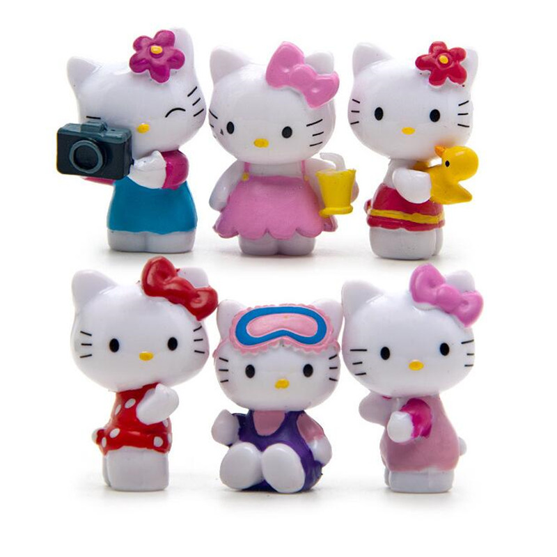 6pcs/set cute hello kitty Handicrafts Decoration kids birthdays gifts Action Figures Collection Model Toys free shipping hello kitty toys kitty cat fruit style pvc action figure model toys dolls 12pcs set christmas gifts ktfg010