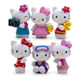 6pcs/set cute hello kitty Handicrafts Decoration kids birthdays gifts Action Figures Collection Model Toys