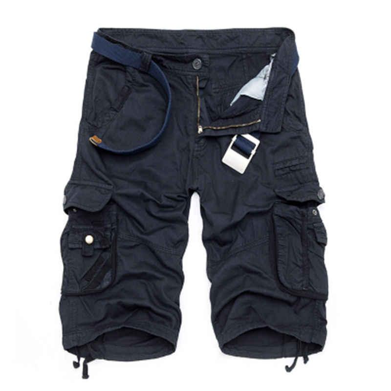 Pantalones cortos militares para hombre 2017 verano camuflaje Cargo Shorts hombres algodón suelto Casual pantalones cortos sin cinturón
