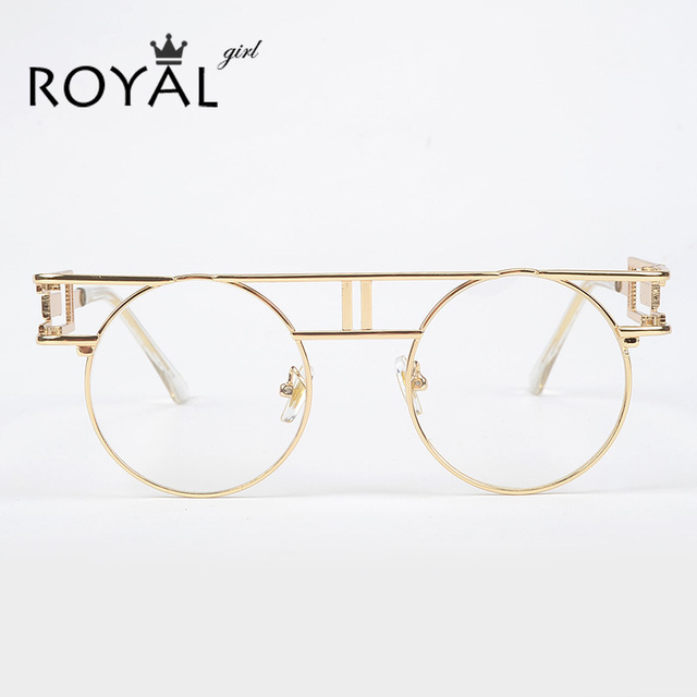 ROYAL GIRL Quality Metal Frame Steampunk Sunglasses Women Brand Designer Round Men Gothic Sun glasses Vintage Eyeglasses ss211