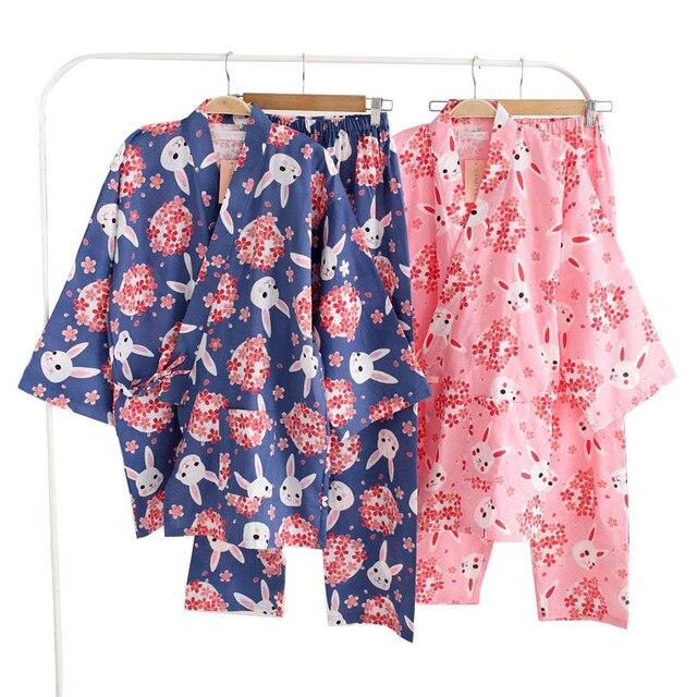 Kobiety piżamy zestaw wiosna i lato nowy panie bielizna nocna zestaw śliczny królik drukowane gaza bawełna komfort w stylu Kimono kobieta Homewear