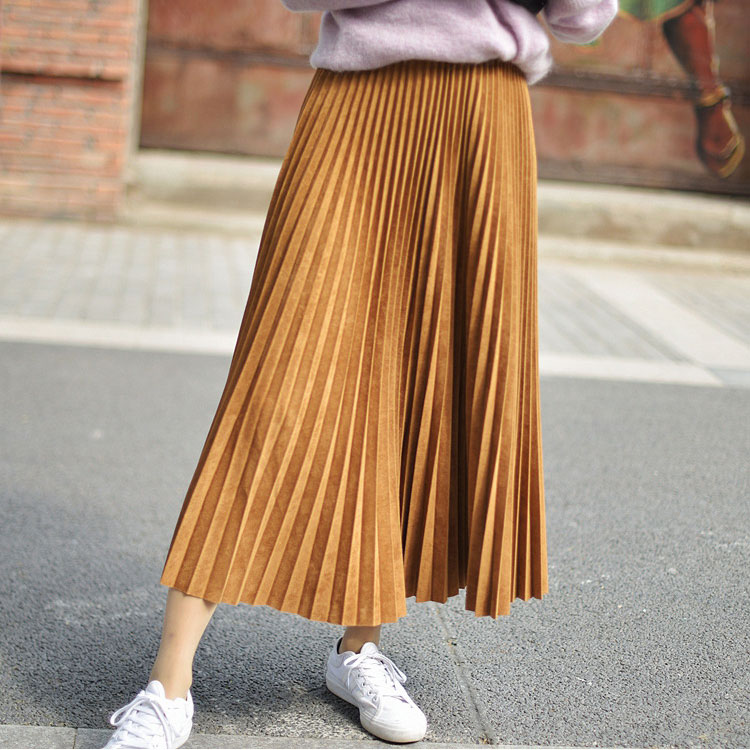 19 Two Layer Autumn Winter Women Suede Skirt Long Pleated Skirts Womens Saias Midi Faldas Vintage Women Midi Skirt 56