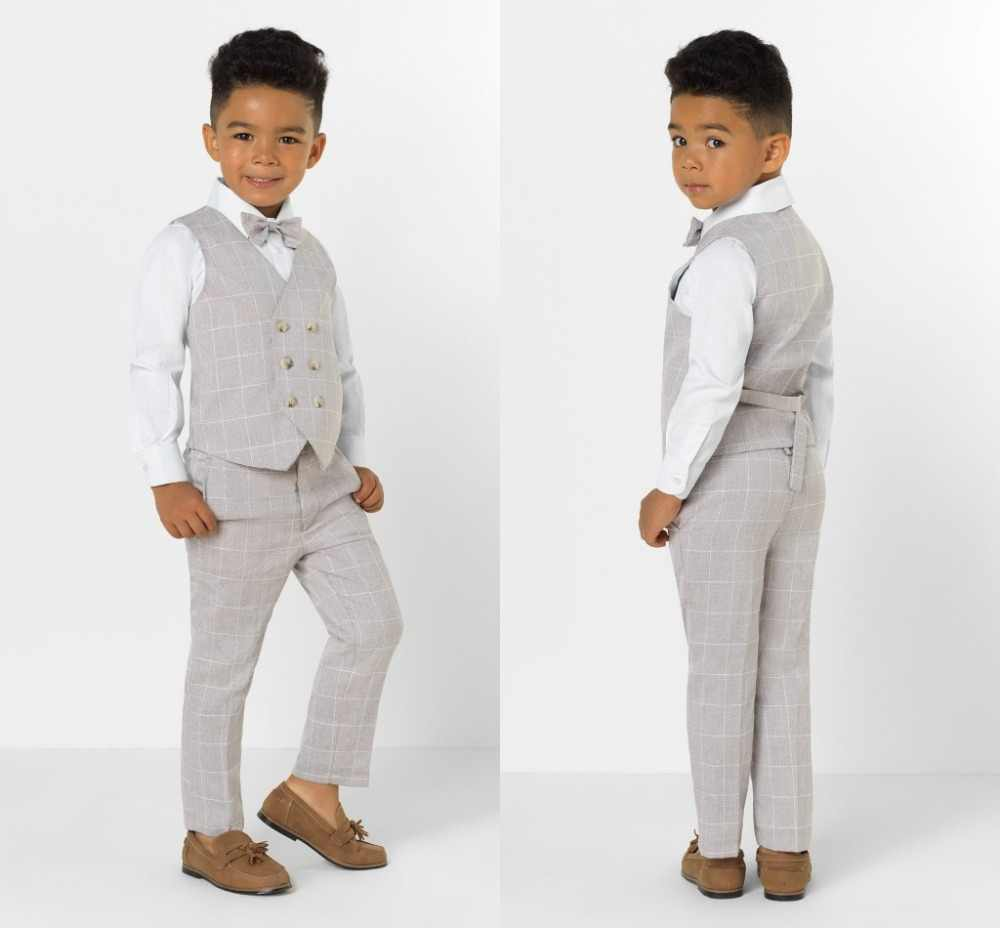 2019 New Arrival Boys' Attire Peaked Lapel Kids Suits Custom Made Clothing Set 2 Pieces Prom Suits (Pants+Tie+Vest) 016