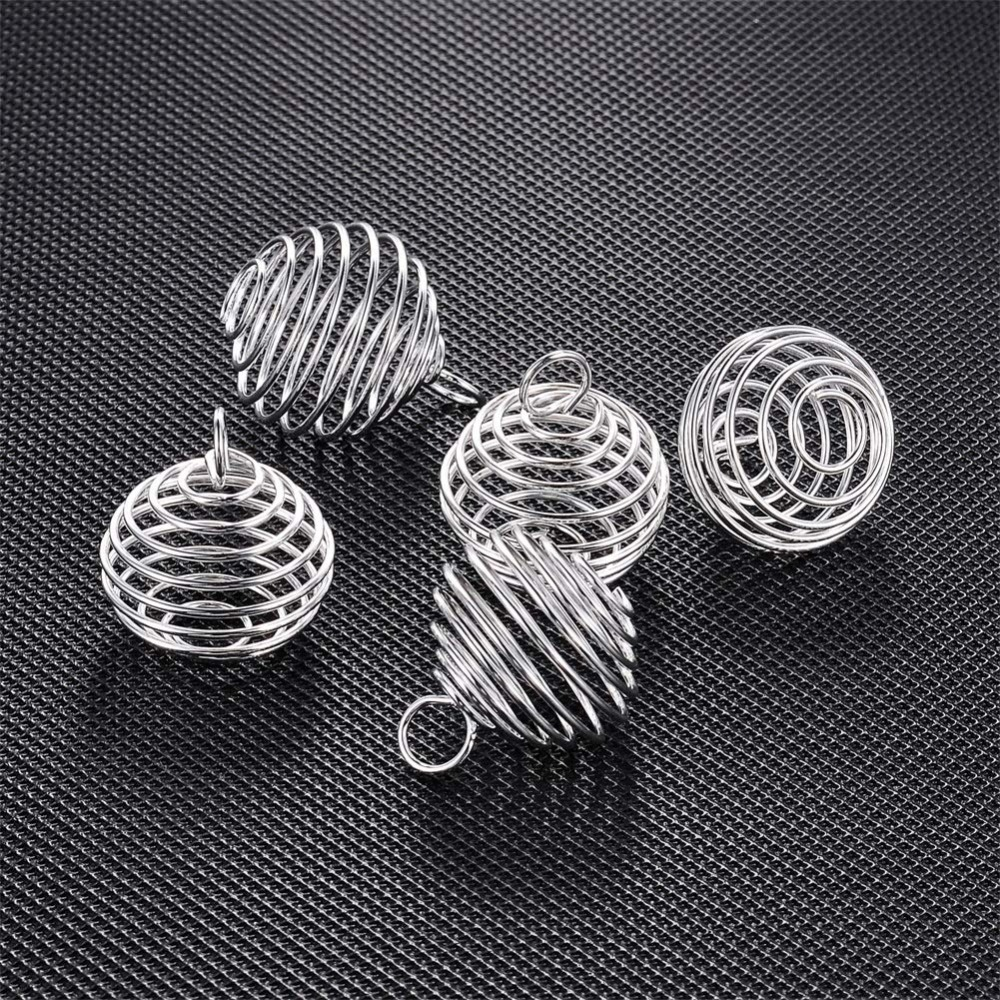 10pcs 15/25/30mm Spiral Bead Cages Pendants Silver Plated for Jewelry Making Crafting Findings DIY Necklace Bracelet Accessories
