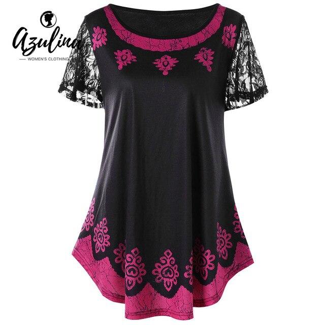 ce104770 AZULINA Plus Size Tribal Print T-Shirt Women Tops O Neck Short Sleeve Lace  T Shirt 2018 Summer Ladies Tops Tee Shirt Big Size